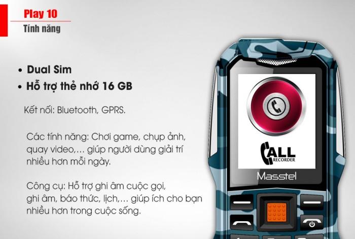 Masstel Play 10 Pin 3000mAh khủng - Loa thùng 3D cực to