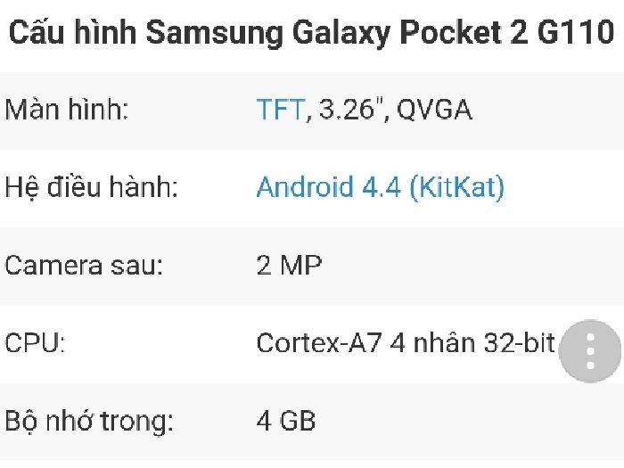 Galaxy pocket 2 nhỏ gọn
