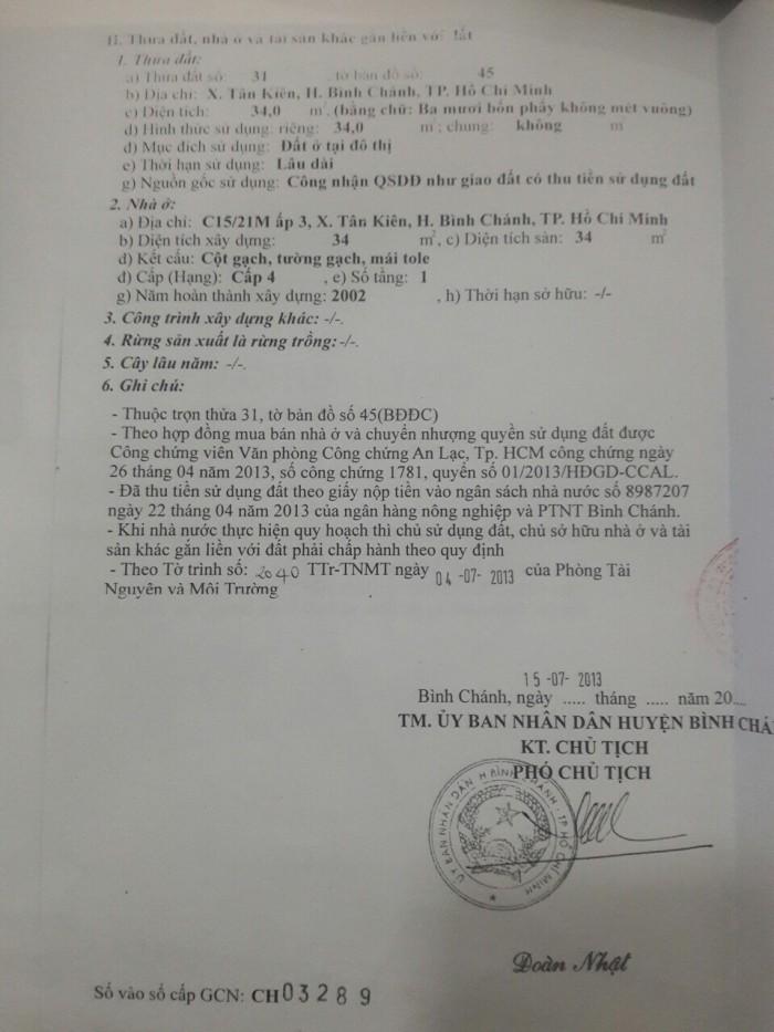 Bán nhà cấp 4 ngay đường Huỳnh Bá Chánh, Ấp 3, Tân Kiên, Bình Chánh