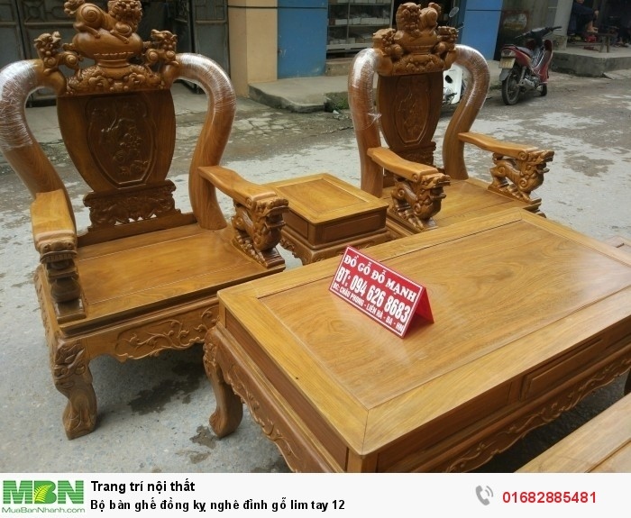Bộ Bàn Ghế Nghê Đỉnh gỗ lim tay 123