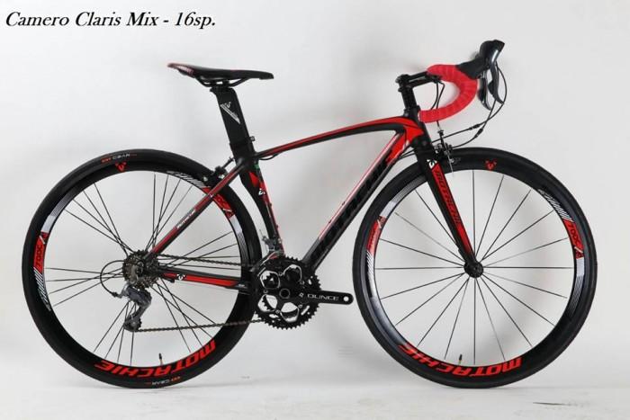 Xe đạp đua Motachie Camero R8.3 2017, mới 100%, miễn phí giao hàng, màu Đen đỏ