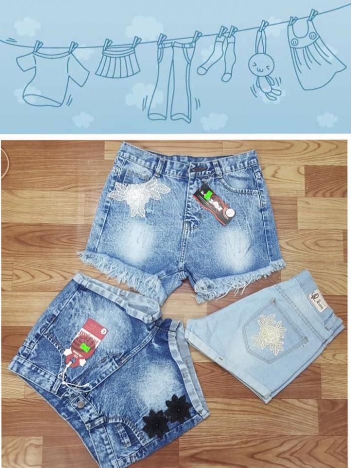 Short jean nữ in chữ, Cotton không giãn2