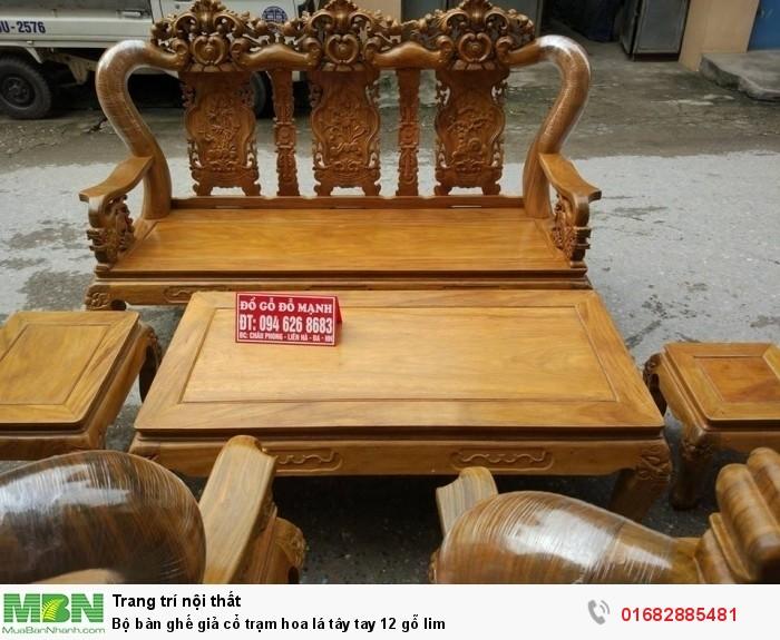 Bộ bàn ghế giả cổ hoa lá tây gỗ lim1
