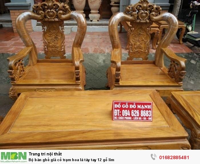 Bộ bàn ghế giả cổ hoa lá tây gỗ lim2