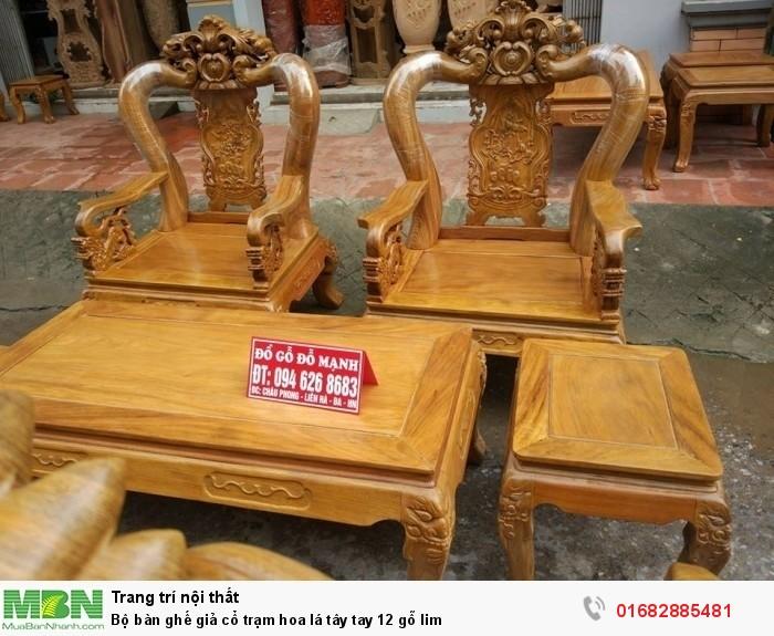 Bộ bàn ghế giả cổ hoa lá tây gỗ lim3