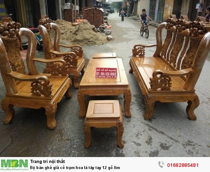 Bộ bàn ghế giả cổ hoa lá tây gỗ lim4