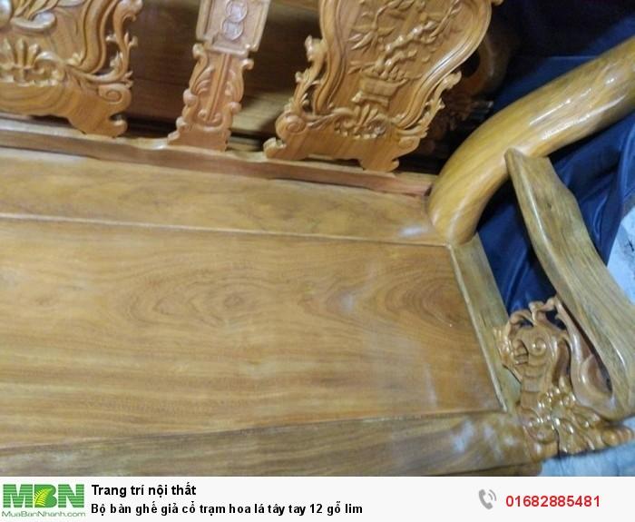 Bộ bàn ghế giả cổ hoa lá tây gỗ lim5