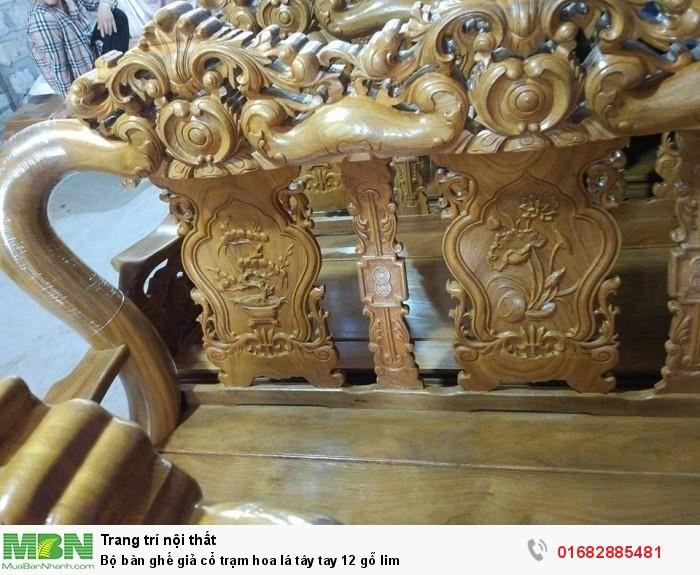 Bộ bàn ghế giả cổ hoa lá tây gỗ lim7