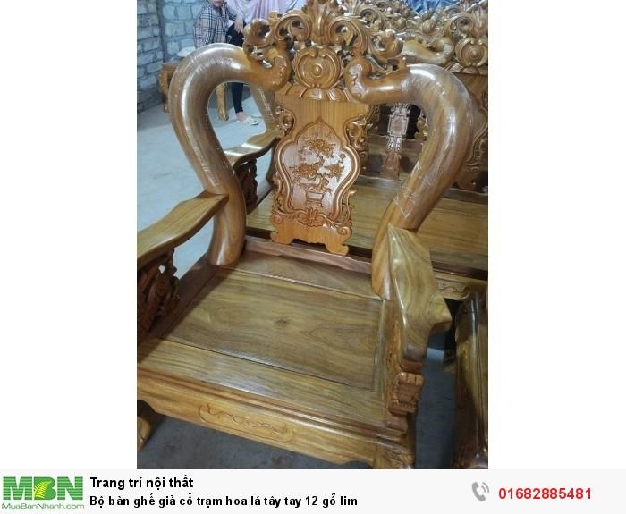 Bộ bàn ghế giả cổ hoa lá tây gỗ lim9