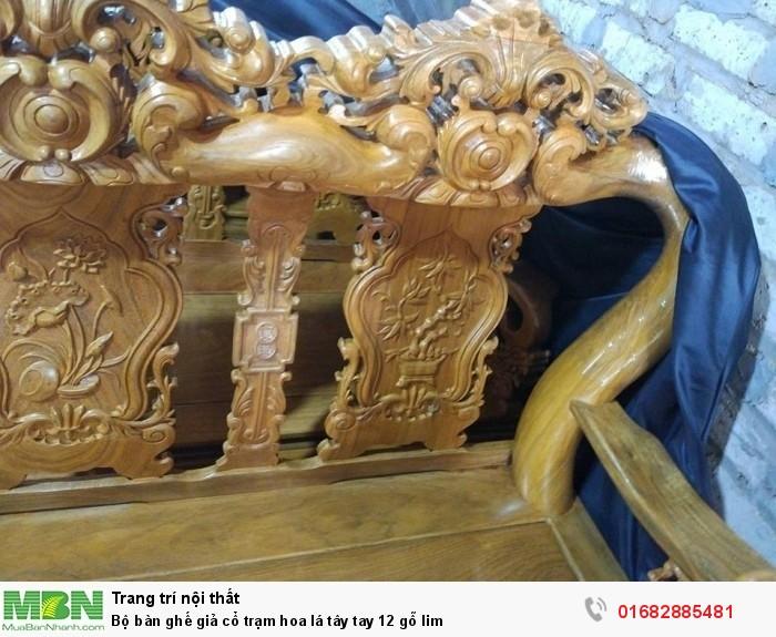 Bộ bàn ghế giả cổ hoa lá tây gỗ lim10
