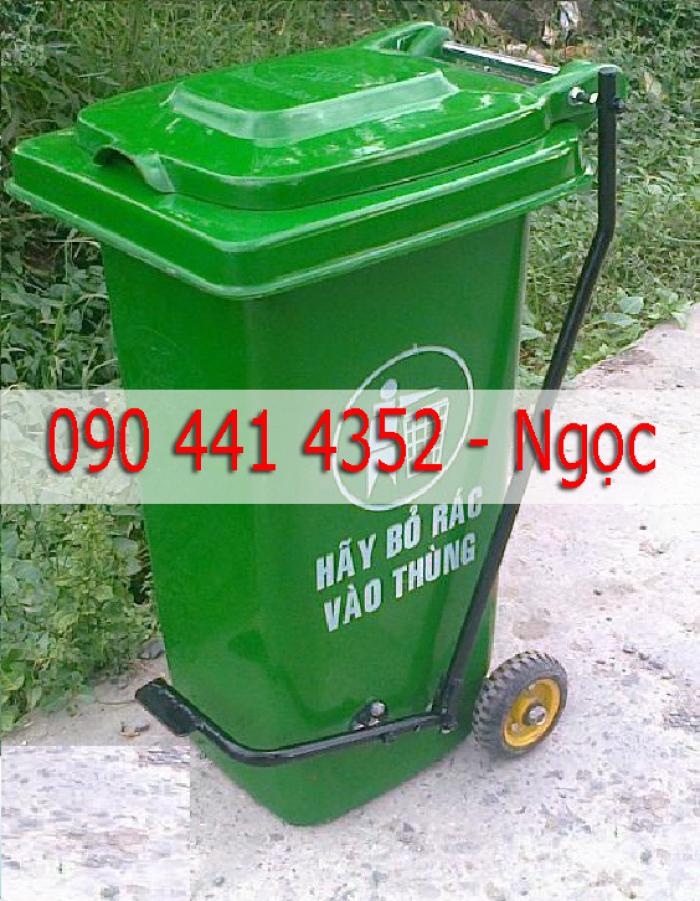 Thùng rác nhựa công cộng 120lít, 240lít . Thùng rác đạp chân, nắp kín, nắp hở