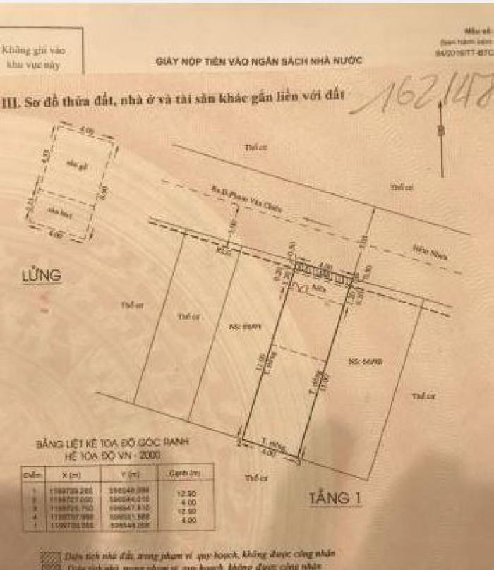 Bán Nhà hẻm 380 Phạm Văn Chiêu, Phường 9, quận Gò Vấp, 4 x 12,9m, Cấp 4, giá 2,85 tỷ
