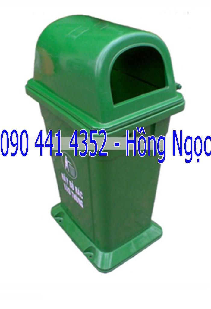 Thùng bỏ rác 60 lít, 90 lít , 95 lít nhựa composite nắp lật, thùng đựng rác 4 bánh xe 60 lít