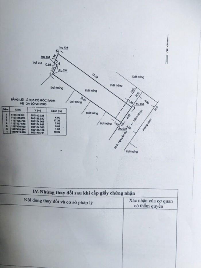 Bán Đất Thổ Cư Đường Nguyễn Du, Phường 7, quận Gò Vấp, 4 x 18,7m, giá 64 tr/m2