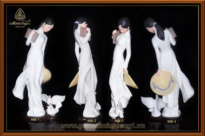 Tượng nữ sinh màu-F0004022 gốm sứ Minh Long I (Loại Lớn)0