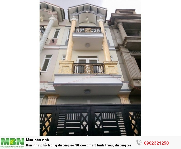 Bán nhà phố trong đường số 10 coopmart Bình Triệu, đường xe hơi 16m, 4 lầu/68m2/3.5 tỷ