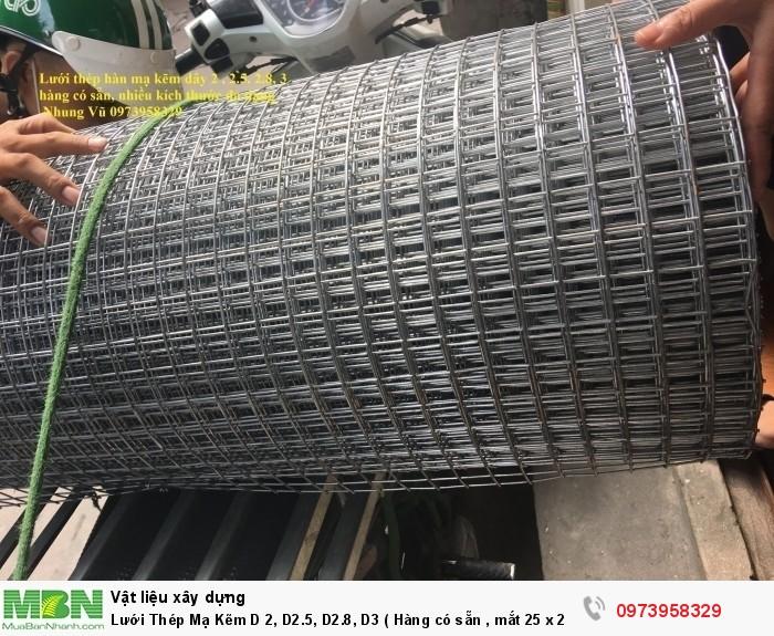 Lưới Thép Mạ Kẽm D 2, D2.5, D2.8, D3 ( Hàng có sẵn , mắt 25 x 25, 35 x 35, 50 x 50)2