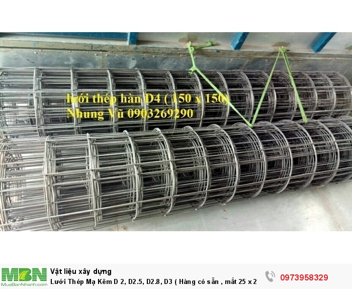 Lưới Thép Mạ Kẽm D 2, D2.5, D2.8, D3 ( Hàng có sẵn , mắt 25 x 25, 35 x 35, 50 x 50)3