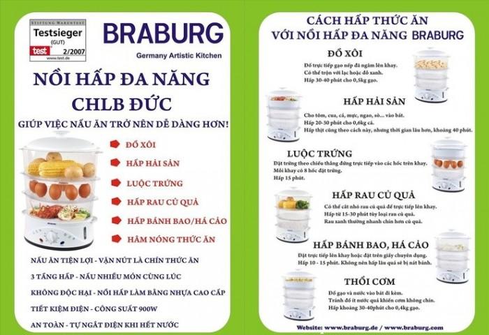 Nồi Hấp Braburg 3 Tầng Đa Năng, Tiêu Chuẩn Châu Âu, An Toàn Tiện Lợi, Công suất 900W - MSN3832372