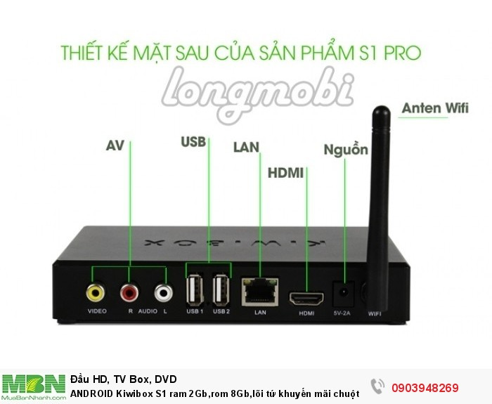 Kiwibox S1 Pro 2 cổng USB 2.04