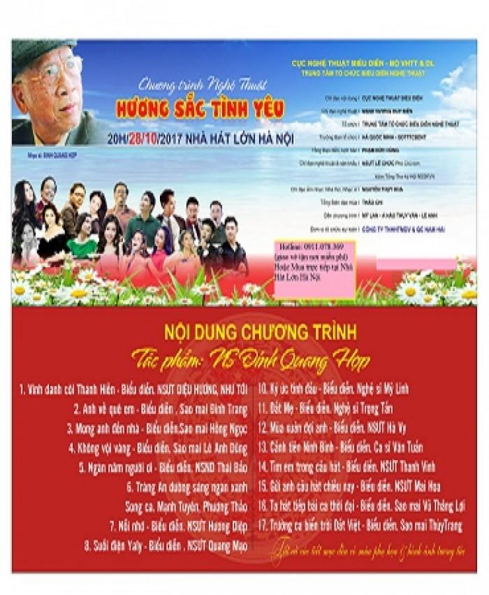 Bán vé Đêm nhạc Hương sắc tình yêu vào 20h ngày 28/11 tại Nhà hát Lớn Hà Nội