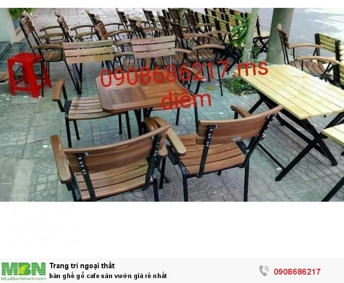 Bàn ghế gỗ cafe sân vườn giá rẻ nhất2