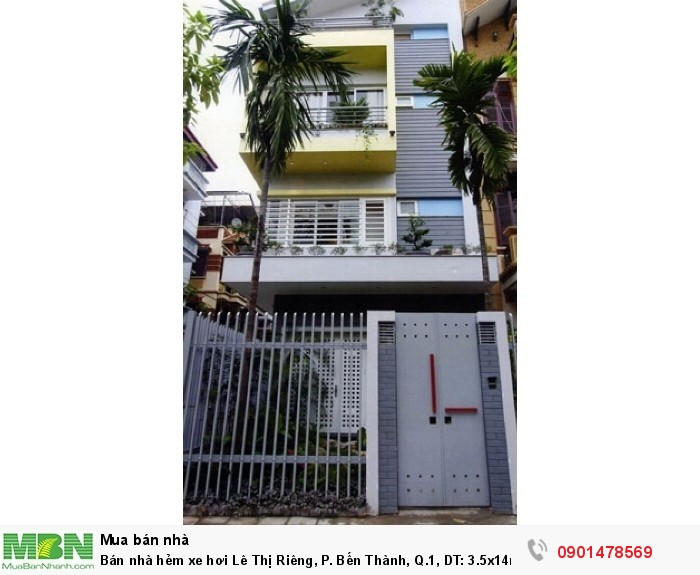 Bán nhà hẻm xe hơi Lê Thị Riêng, P. Bến Thành, Q.1, DT: 3.5x14m