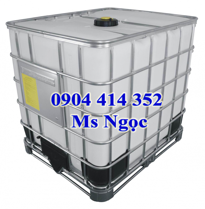 Bồn nhựa ibc 1000 lít, tank nhựa 1 khối đựng hóa chất có vòi xả