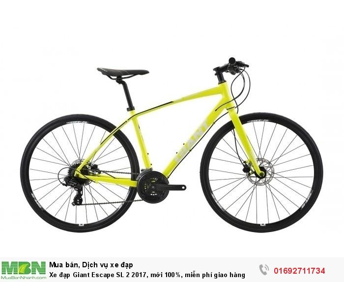 Xe đạp Giant Escape SL 2 2017, mới 100%, miễn phí giao hàng, màu Vàng chanh