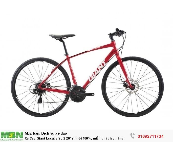Xe đạp Giant Escape SL 2 2017, mới 100%, miễn phí giao hàng, màu Đỏ