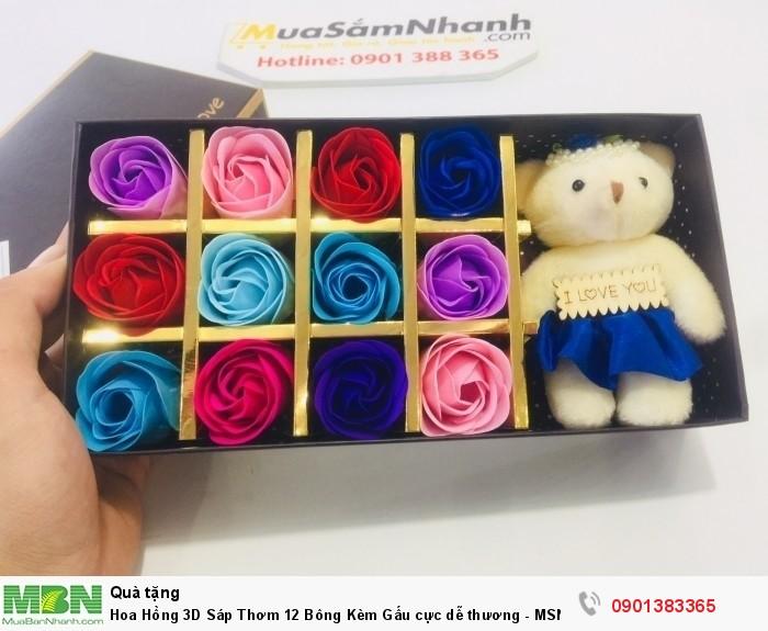 Hoa Hồng 3D Sáp Thơm 12 Bông Kèm Gấu0