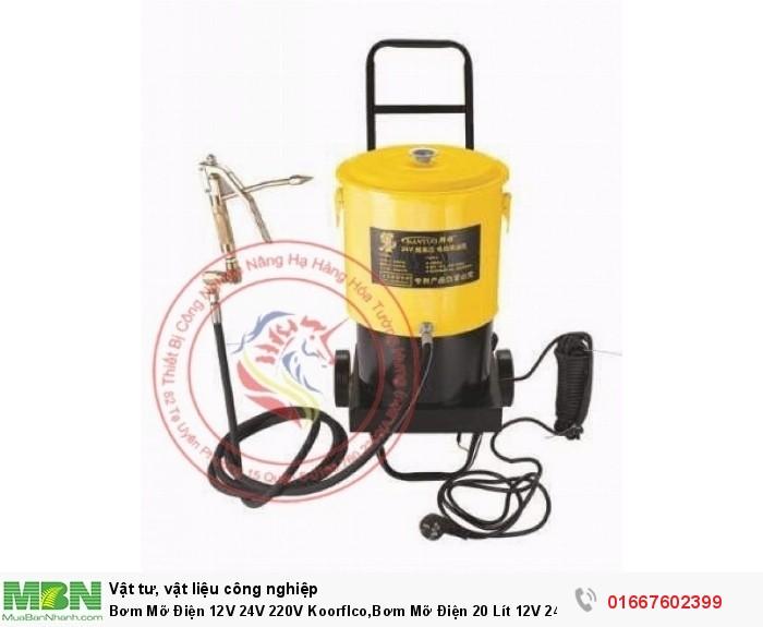 Bơm Mỡ Điện 12V 24V 220V Koorflco,Bơm Mỡ Điện 20 Lít 12V 24V 220V1