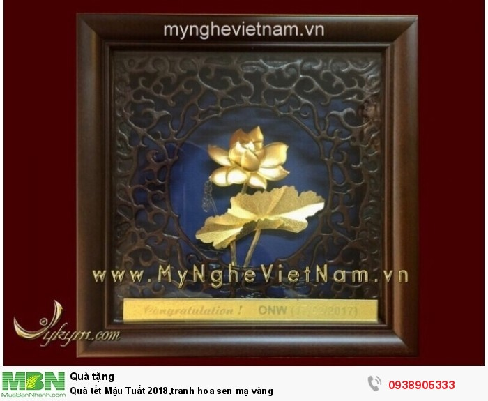 Quà tết Mậu Tuất 2018,tranh hoa sen mạ vàng0