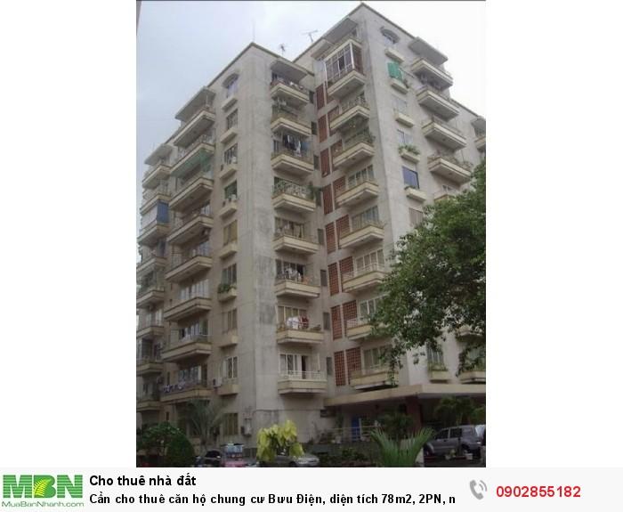Cần cho thuê căn hộ chung cư Bưu Điện, diện tích 78m2, 2PN, nhà trống