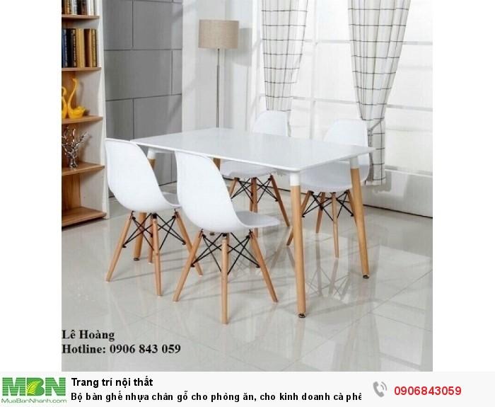 Bộ bàn ghế nhựa chân gỗ cho phòng ăn, cho kinh doanh cà phê, quán ăn0