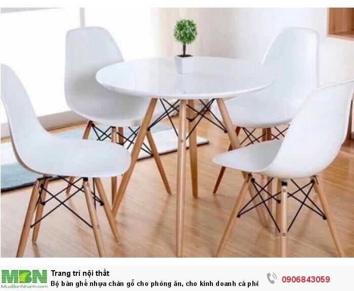 Bộ bàn ghế nhựa chân gỗ cho phòng ăn, cho kinh doanh cà phê, quán ăn1