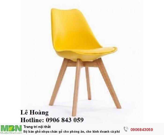 Bộ bàn ghế nhựa chân gỗ cho phòng ăn, cho kinh doanh cà phê, quán ăn2