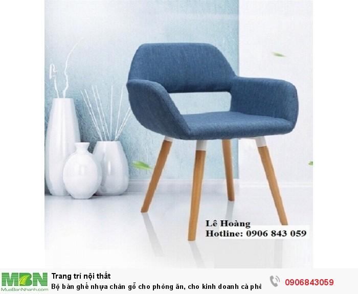 Bộ bàn ghế nhựa chân gỗ cho phòng ăn, cho kinh doanh cà phê, quán ăn3