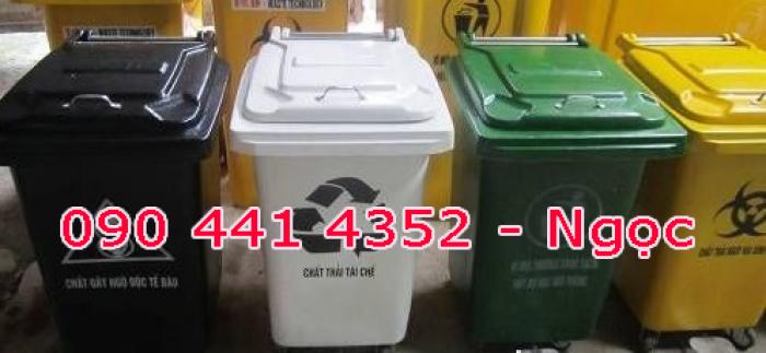 Thùng rác nhựa 60 lít , thùng rác 90 lít nắp bập bên, nắp hở