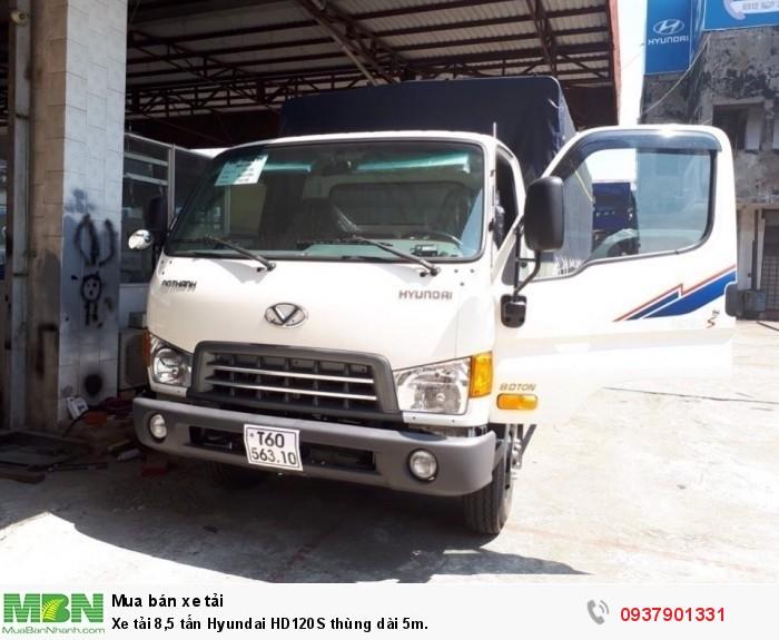 Xe tải 8,5 tấn Hyundai HD120S thùng dài 5m, khuyến mãi trước bạ.