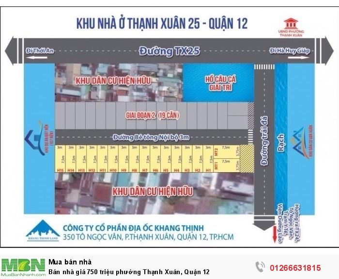 Bán nhà giá 750 triệu phường Thạnh Xuân, Quận 12