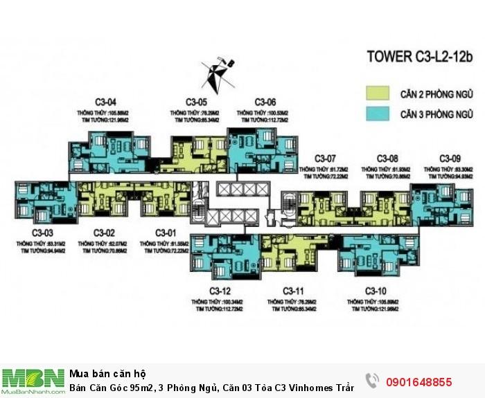 Bán Căn Góc 95m2, 3 Phòng Ngủ, Căn 03 Tòa C3 Vinhomes Trần Duy Hưng, Giá Cực Rẻ