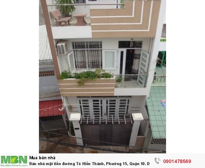 Bán nhà mặt tiền đường Tô Hiến Thành, Phường 15, Quận 10. DT: 4x22m, 3 lầu + sân thượng