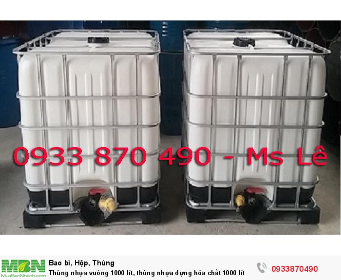 Thùng nhựa vuông 1000 lít, thùng nhựa đựng hóa chất 1000 lít