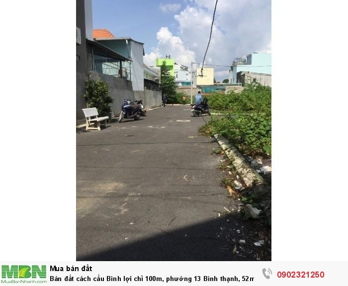 Bán đất cách cầu Bình lợi chỉ 100m, phường 13 Bình thạnh, 52m2/ 2.95 tỷ XDTD, SHR