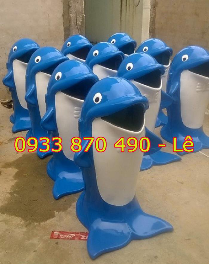 Thùng đựng rác hình con cá heo, thùng đựng rác hình con cá chép