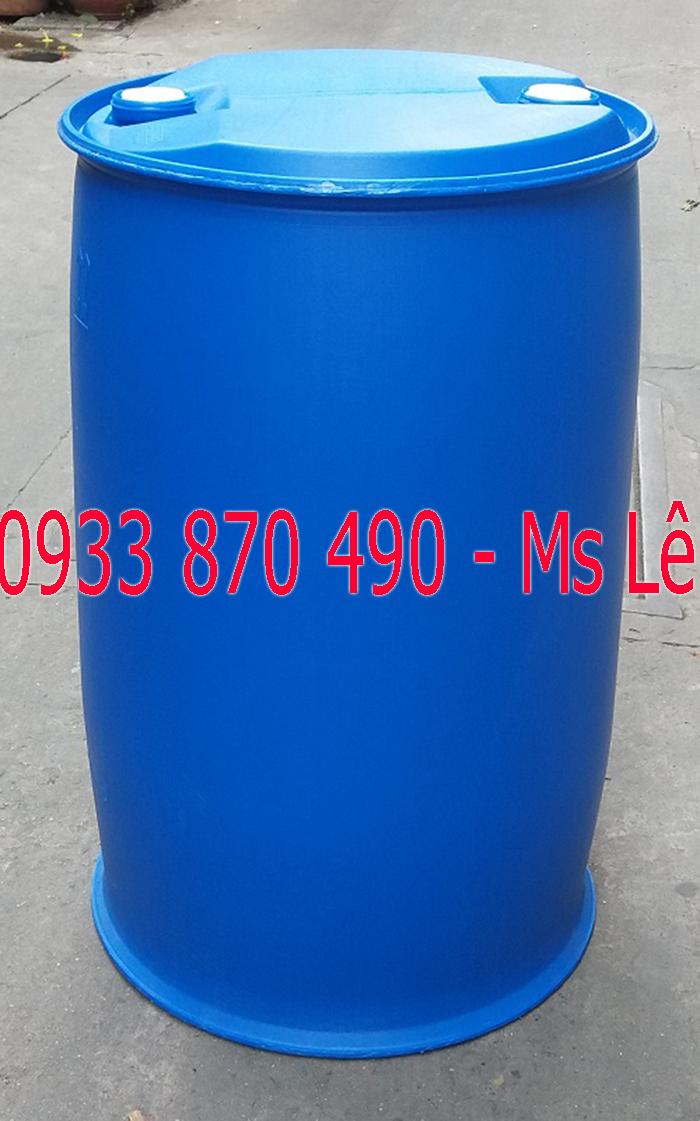 Thùng phuy nhựa 220 lít, thùng phuy nhựa 220 lít có 2 nắp nhỏ, phuy nhựa 220 lít  năp mở
