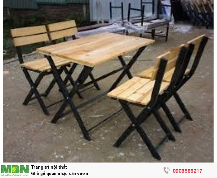 Ghế gỗ quán nhậu sân vườn0