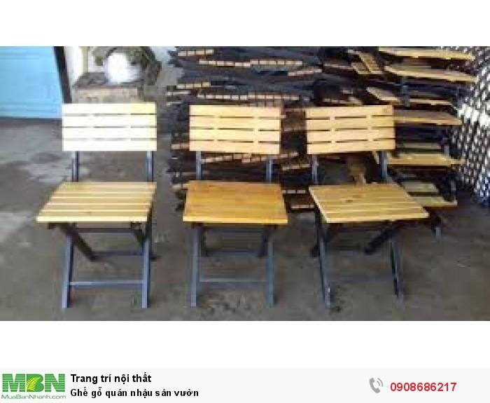 Ghế gỗ quán nhậu sân vườn2