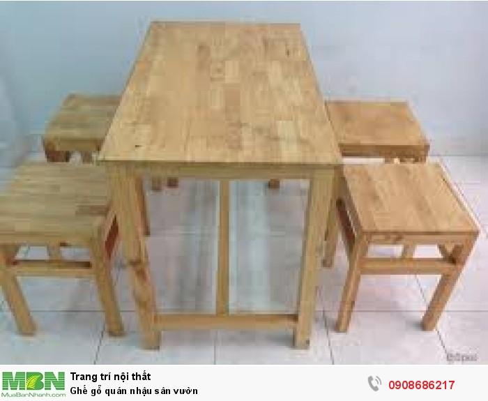 Ghế gỗ quán nhậu sân vườn3